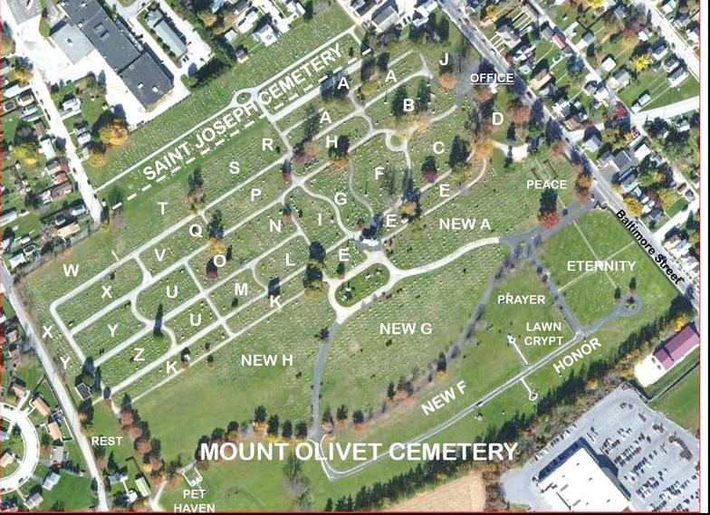Mt Olivet Cemetery Sections